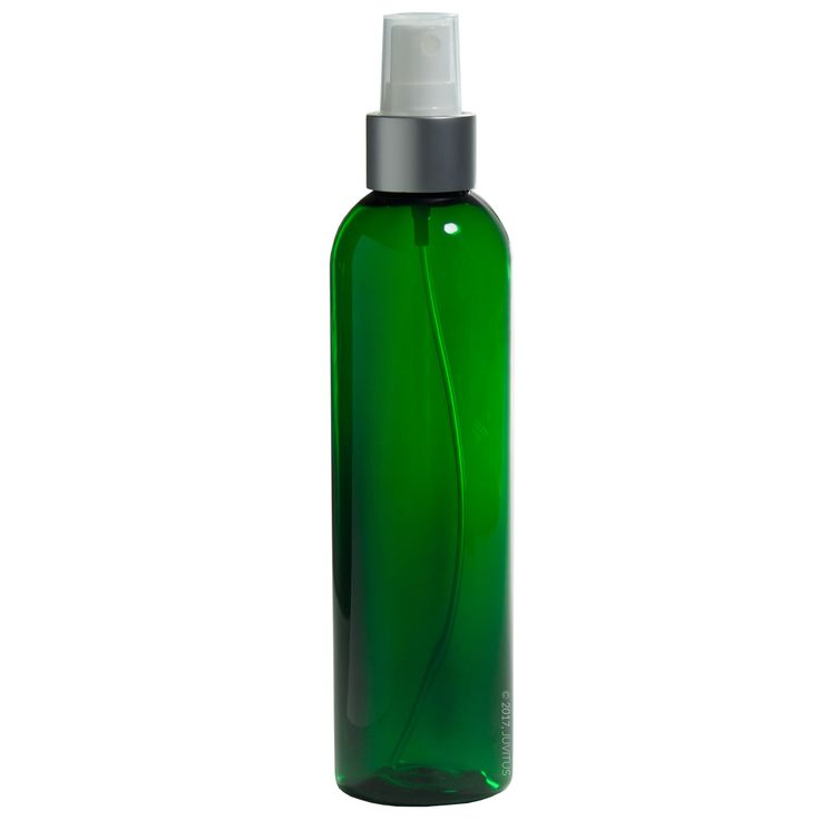 8 oz Green Tall Slim Plastic PET Refillable BPA Free Bottles with Silver and White Fine Mist Sprayers (6 pack) + Labels