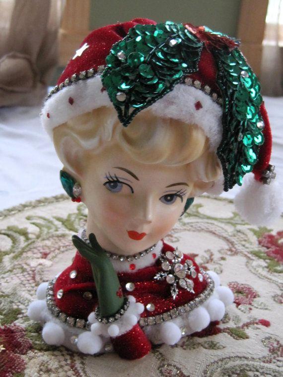 Vintage Lefton Jeweled Lady Headvase Lady Head Vase Miss Cringle Christmas red green holly santa 1950s headvase. $75.00, via Etsy.