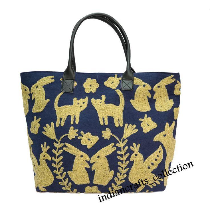 Indian Cotton Suzani Embroidery & Handbag Woman Shoulder Tote Bag Beach Boho Bag #Handmade #ShoulderBag
