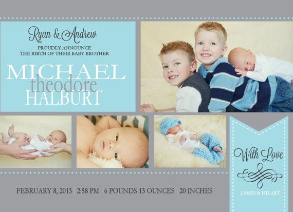 Baby Announcement -- Birth Announcement -- Baby Boy Birth Announcement -- Baby Birth Announcement -- digital, custom, print yourself