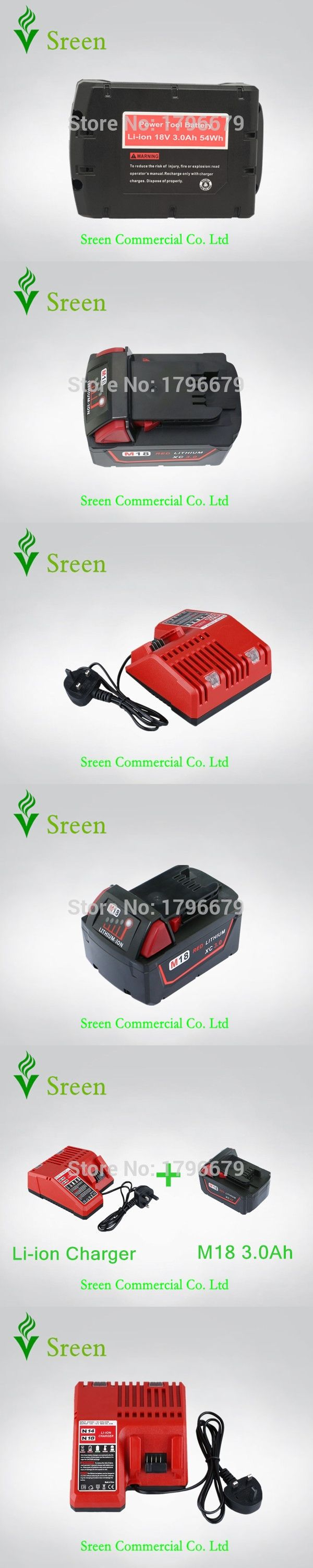 New 3000mAh Lithium Ion Rechargeable Battery Packs with Power Tool Battery Charger Replacement for Milwaukee 18V M18 M14 XC Li18