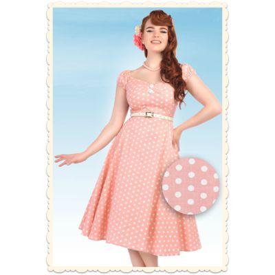 Robe swing rose à pois Dolores par Collectif Clothing ♥ missretrochic.com boutique web rétro et glamour