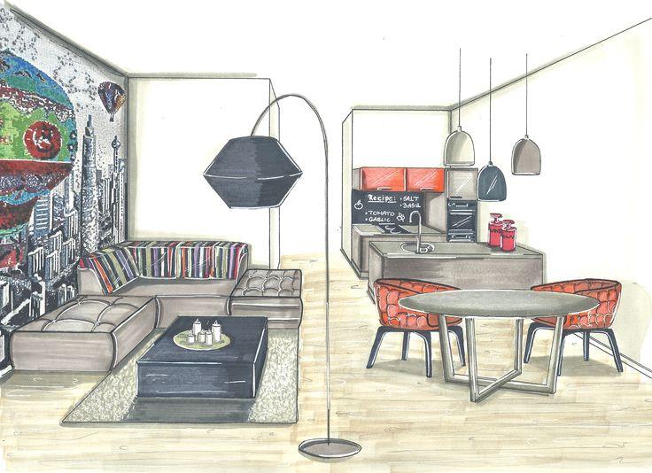 Single girl apartment with #sicisskylinemosaik