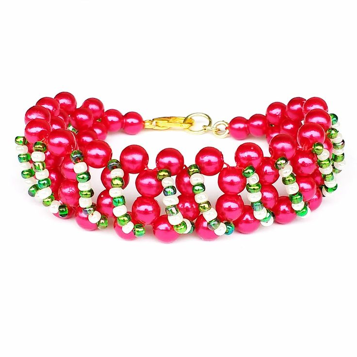 Young Girl Bracelet, For Granddaughter, Daughter Gift, Christmas Jewelry, Red Bead Bracelet, Green White Seed Beads, Tween Girl Size by LakeviewNeedlework on Etsy