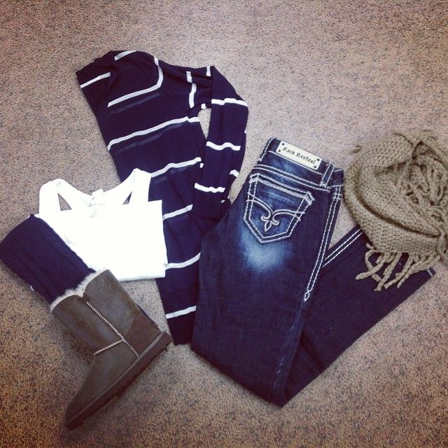 Cute casual: dark jeans navy striped l/s white tank uggs tan scarf- love it all except the uggs