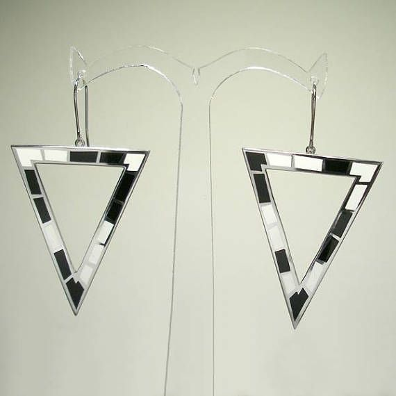 Pop Art Big Triangle SILVER and ENAMEL EARRINGS