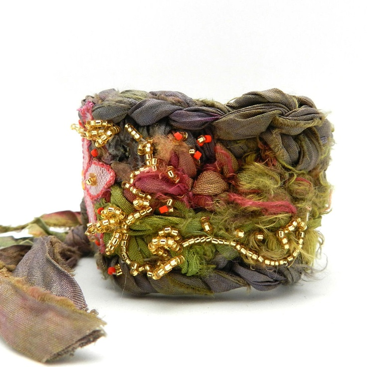 Fabric Crochet Cuff, Flower Bracelet, Boho Style, Hippie Jewelry, Cuff Bracelet, Rag Crochet, Upcycled Jewelry. $38.00, via Etsy.