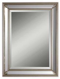 Contemporary Art Sites Jansen Rectangular Antiqued Silver Leaf Mirror UMOUB