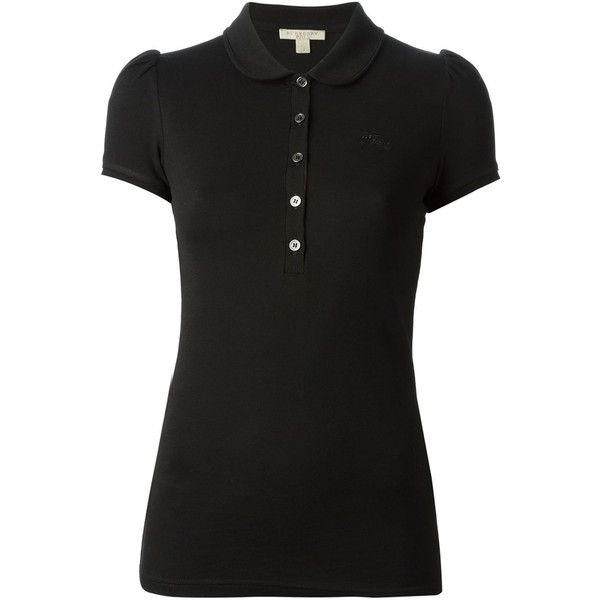 Burberry Brit Checked Placket Polo Shirt (2,225 MXN) ❤ liked on Polyvore featuring tops, burberry, shirts, t-shirts, black, black polo shirt, round top, embroidered logo shirts, burberry shirt and polo shirts