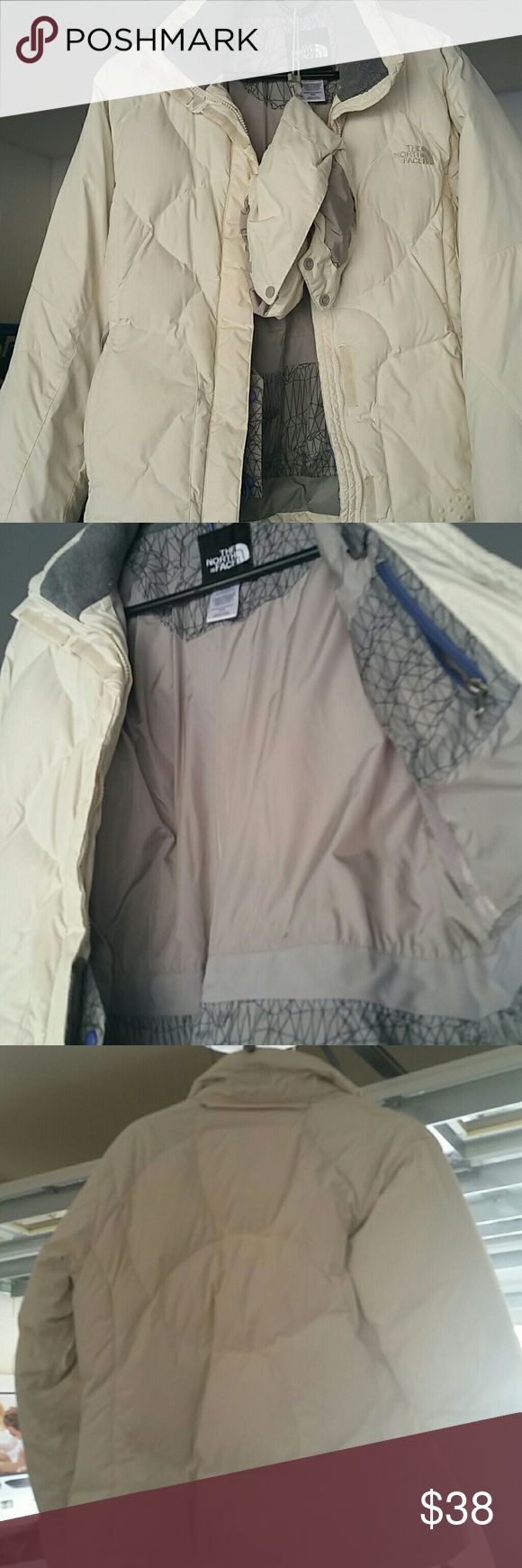 North Face winter jacket Very very warm.Perfect inside,a few very tiny spots on front left area (shown in pic).No rips or tares. Comes with a detachable hood that zippers and snaps on. North Face Jackets & Coats Puffers