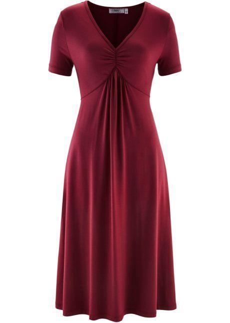 Трикотажное платье с коротким рукавом, bpc bonprix collection, бордовый
