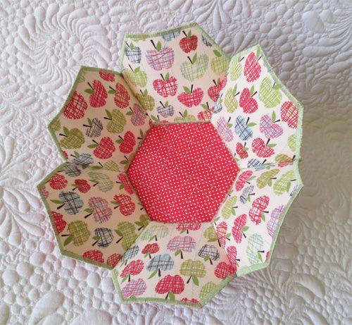 fabric bowl tutorial, hexagon bowl tutorial from Geta Grama's blog