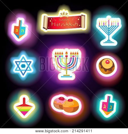 Happy Hanukkah Holiday greeting poster with traditional symbols stickers: donuts - traditional cakes, dreidel spinning top, candles with fire flame, candelabrum, scroll baner on glowing lights effect, glow. Festival of lights Israel Jewish Holiday logo se