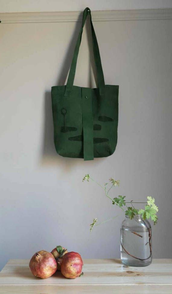 green leather tote bag handmade handprinted special print chic and confortable saysomething lab design perfect gift visit us on Etsy