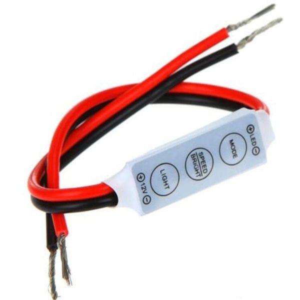 12 24v Mini In Line Led Light Strip Dimmer Controller With 3 Key On Off Switch Led Led Light Strips Led Dimmer