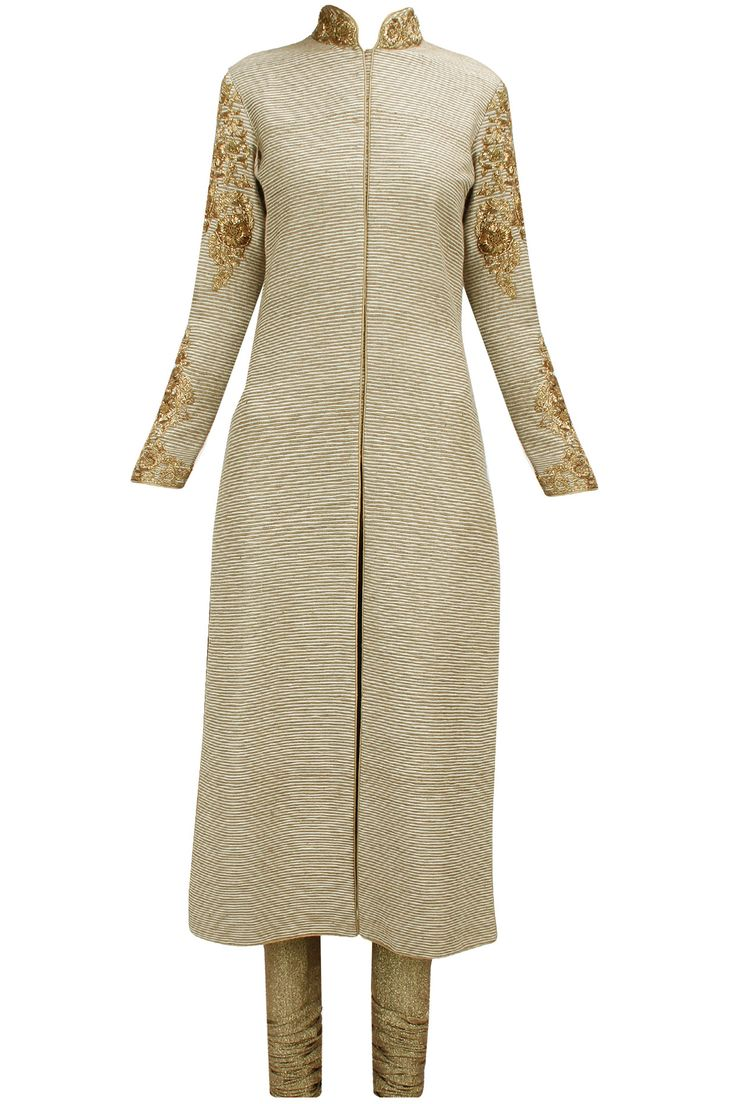 Beige gold embroidered straight kurta set available only at Pernia's Pop-Up Shop.