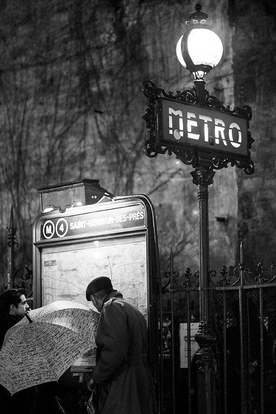 Rainy evening on St Germain Des Pres, Classic Paris, umbrella, Paris Metro, black and white photography, Paris Art, french decor