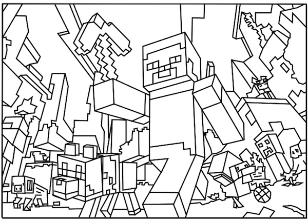 a free printable minecraft world colouring in page found on minecraftcoloringpagescom - Colouring Ins