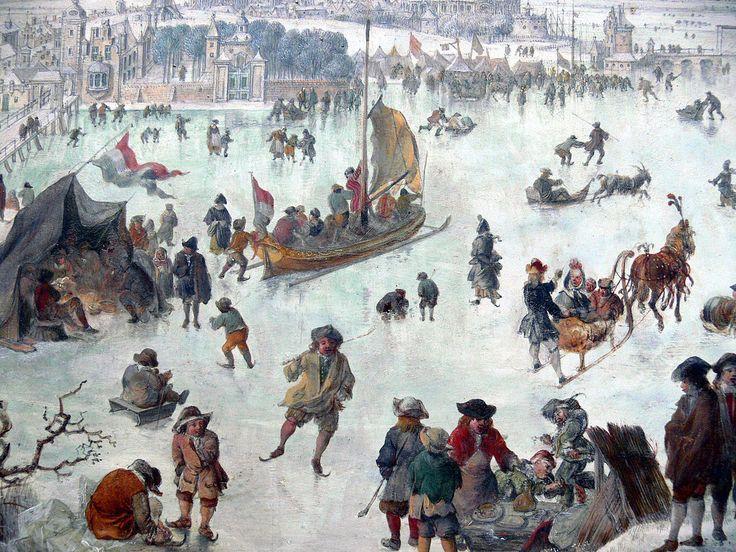 Jan Griffier — Plaisirs d'hiver Vue partielle décrivant les activités sur la glace de l'Escaut gelé durant le petit âge glaciaire ; tableau conservé au Musée royal des Beaux-Arts d'Anvers