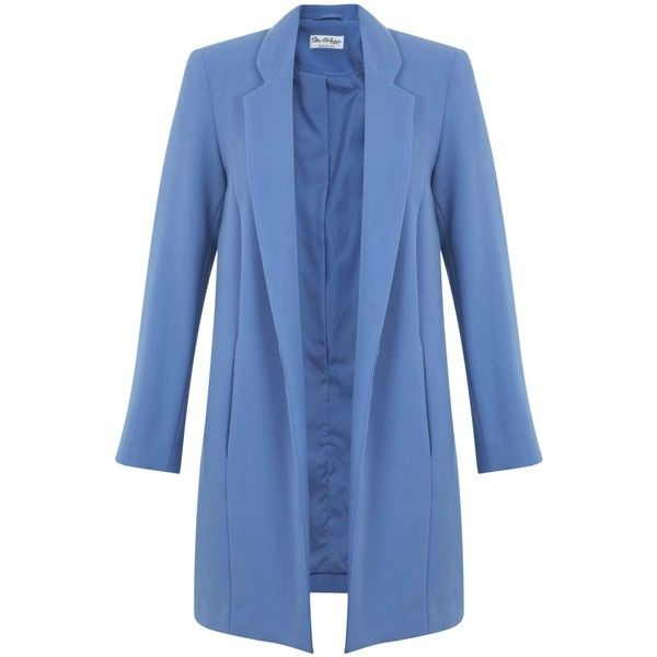 Miss Selfridge Blue Duster Coat ($72) ❤ liked on Polyvore featuring outerwear, coats, blue, clearance, miss selfridge, blue coat and duster coat