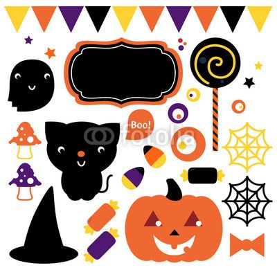 #55776051 - Halloween party set isolated on white