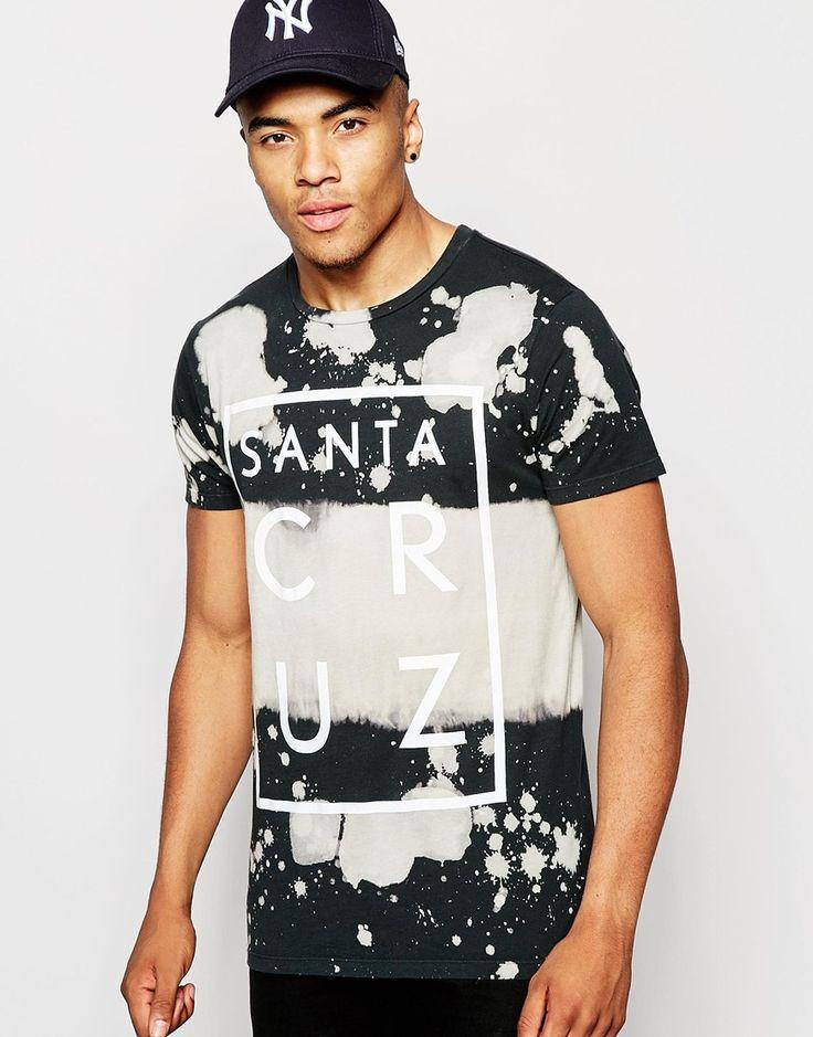 Imagen 1 de Camiseta con diseño de efecto teñido anudado y estampado Santa Cruz de New Look