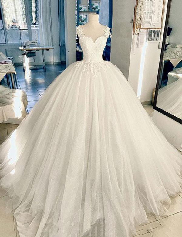 7fd0a1f736 White Lace Tulle Long Prom Dress