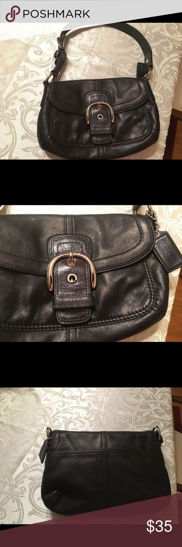 Authentic Coach Black Leather Purse COACH black purse - black leather strap/handle - silver buckles - front opens/ closes with magnet - inside 1 large pocket, 1 medium pocket, and 2 small pockets - back of purse is pocket - authentic - great condition Bags Totes