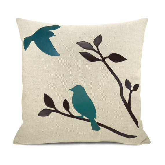 Teal And Black Decorative Pillows : 16x16 decorative pillow cover - Love birds throw pillow case - Black, teal and natural beige ...