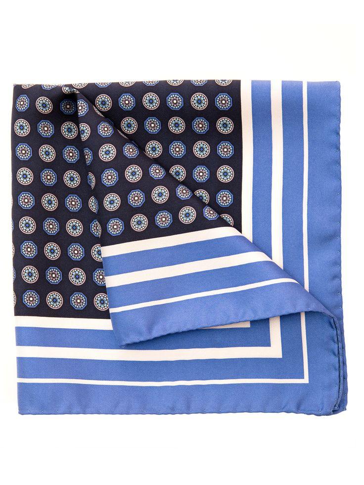 Franco-Large Blue Silk Pocket Square