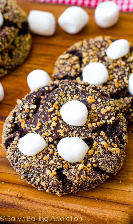 S'mores Cookies! Soft, chewy chocolate crinkle cookies rolled in graham cracker and topped with marshmallows. @Sally McWilliam [Sally's Baking Addiction]