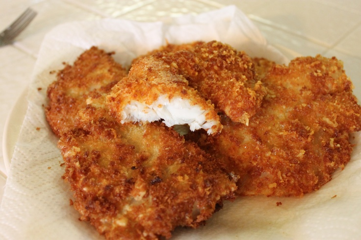 Garlic Parmesan Panko Crusted Talapia: Just dredged fish filllets in flour & egg wash, then breaded with a mixture of parmesan cheese,garlic powder & panko crumbs. Fry to a golden brown color.