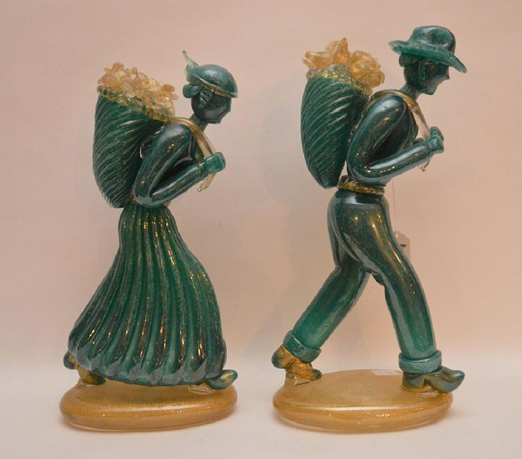 """Lot: Pair Murano glass figures, 15""""h (man has chips & crack,, Lot Number: 0170, Starting Bid: $100, Auctioneer: Bill Hood & Sons Art & Antique Auctions, Auction: Day1 High End Art & Antique Auction, Date: January 10th, 2017 UTC"""