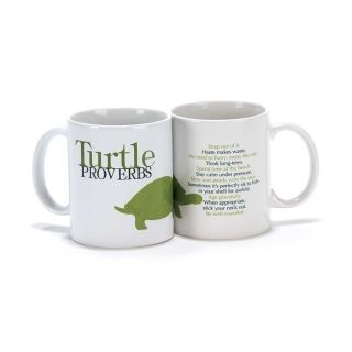 Turtle Proverbs Ceramic Mug  Proverb:  Snap out of it. Haste makes waste. No need to hurry, enjoy the ride. Think long-term. Spend time at the beach. Stay calm under pressure. Slow and steady wins the race. Sometimes it's perfectly ok to hide in your shell for awhile. Age gracefully. when appropriate, stick your neck out. Be well-rounded.  Materials:     100% Ceramic MugDetails:   11oz Ceramic Mug Dishwasher Safe Microwave Safe