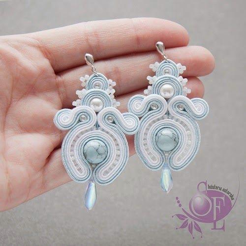 Szkatułka Emi: #144 Kolczyki sutasz w bieli i błękicie #soutache #blue #white #earrings