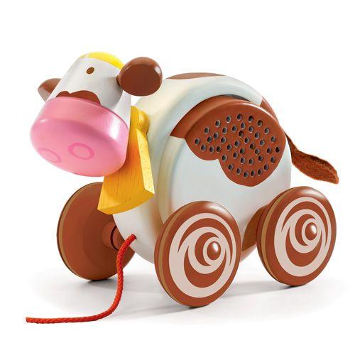 "Djeco Ξύλινη τρεχαλίτσα αγελάδα με ήχο ""BaccaMeuh"""