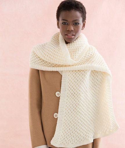 Heart Scarf Knitting Pattern : Honeycomb Stitch Scarf Free Knitting Pattern in Red Heart Yarns New, New Fr...