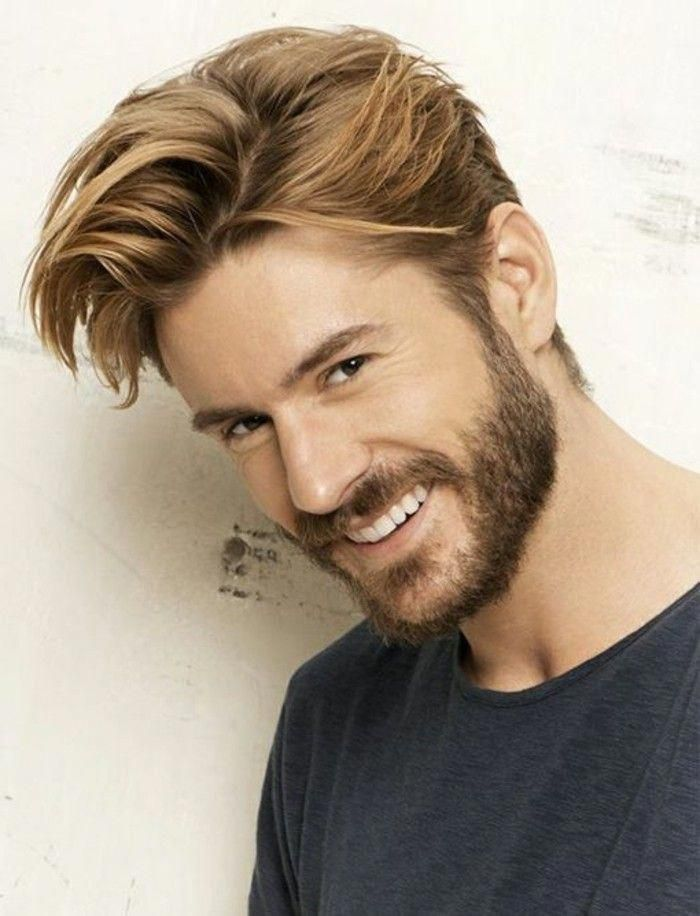 Laughing Bearded Man With Light Brunette Side Parted Hair And Bangs Brushed To One Side In A Messy Quiff Trendy Haircuts For Men Menshairstyles