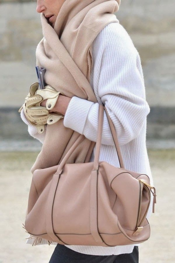 #Accessories : white sweater handbag scarf beige gloves winter autumn street outfit fashion style clothing women apparel