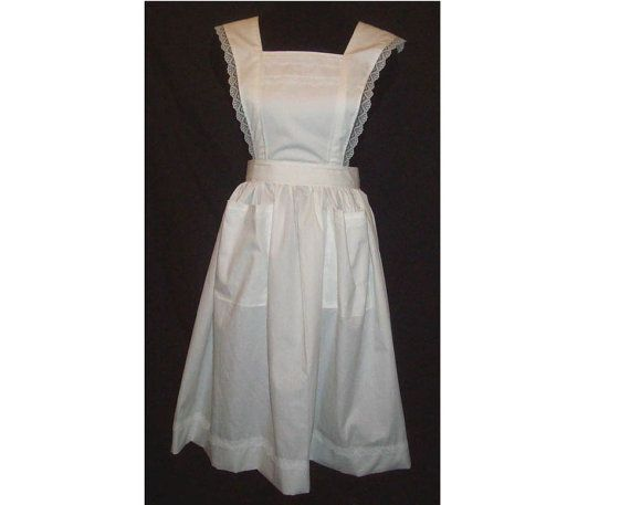 Medium/Large Flared Strap Bib Apron with lace trim, white and solid colors available