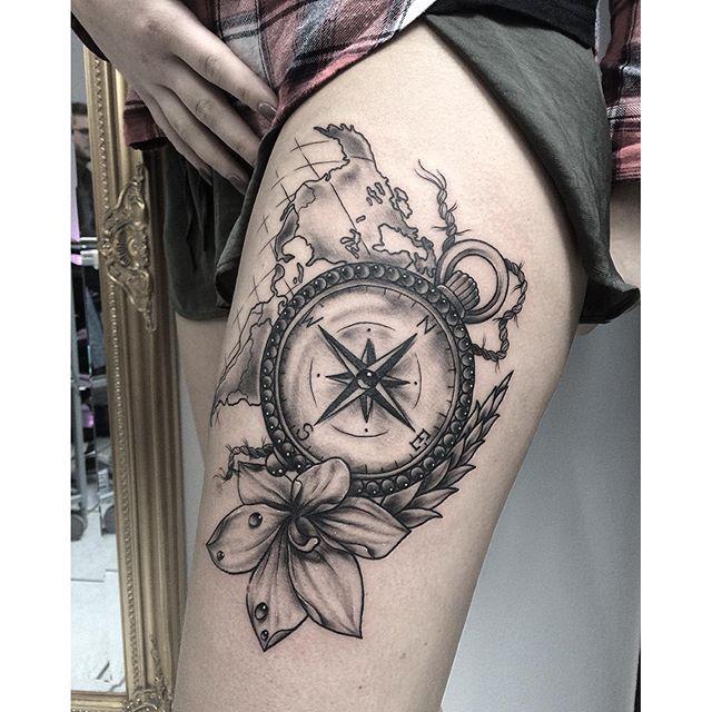 ... _denicexx_ #compass #edwardmiller #flower #map #cologne #tattoo
