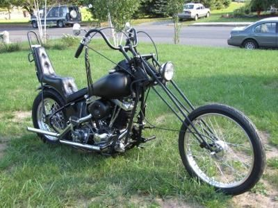 1976 Harley Davidson Old School Chopper: The 1976 Harley Davidson Old School Chopper For Sale has a cool flat black powder coat paint job, a Durfee girder front end, jammer chopper frame,mousetrap #harleydavidsonchoppersoldschool #harleydavidsoncustompaint