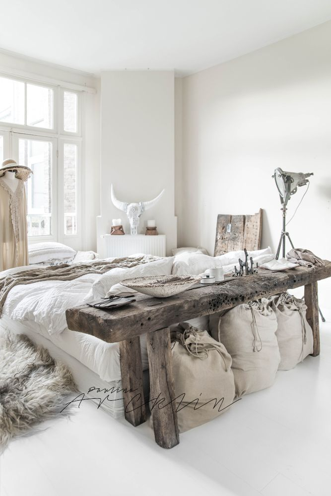 White bohemian bedroom
