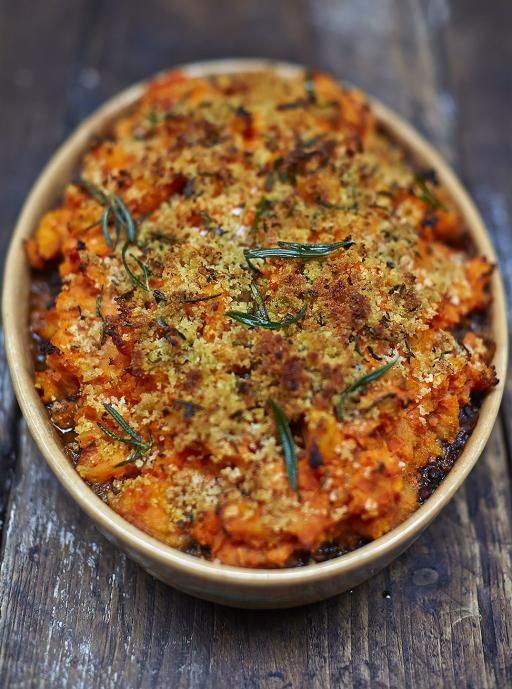 Jamie Oliver's Vegan Shepherds Pie (uses lentils, chickpeas, mushrooms, tomatoes & potatoes, of course!)