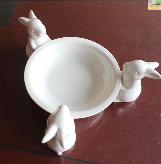 原单出口日本客单样纯美白色小兔陶瓷果盘果盆干果盘点心盆婚庆