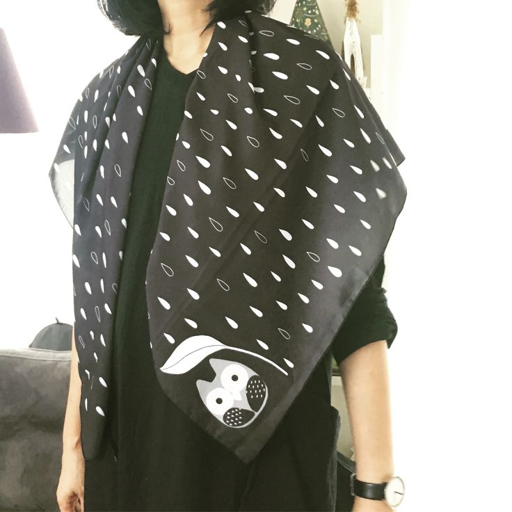 Scarf by Simply be, size 100x100 cm., Silk Satin fabric, Owl in rainy day - black