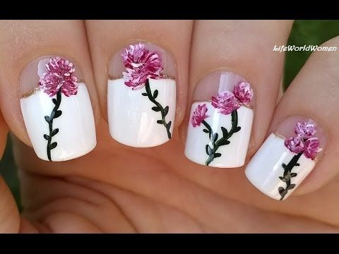 66 best natural nail art designs and tutorials images on elegant floral nail art over wide french manicure http47beauty prinsesfo Images