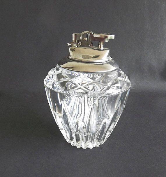 Vintage Table Top Cigarette Lighter Crystal Made In Japan