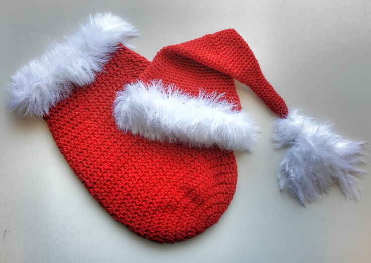 Christmas Baby Cocoon Crochet Pattern : Newborn Christmas Cocoon and Santa Hat pattern by Stitched ...