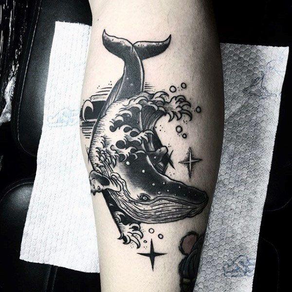 Cool Ocean Water Waves Splashing Whale Guys Leg Tattoos